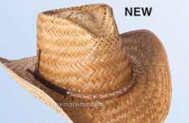 Straw Cowboy Hat W/Leather Hatband