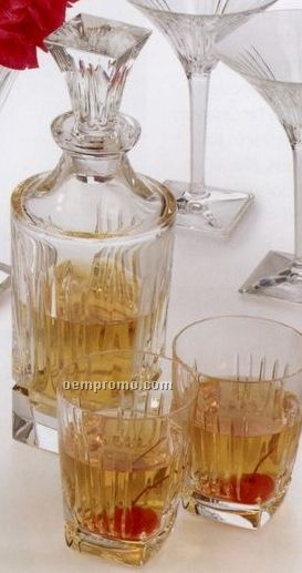 Waterford Clarion Collection Crystal Spirit Decanter W/ 2 Dof Glasses