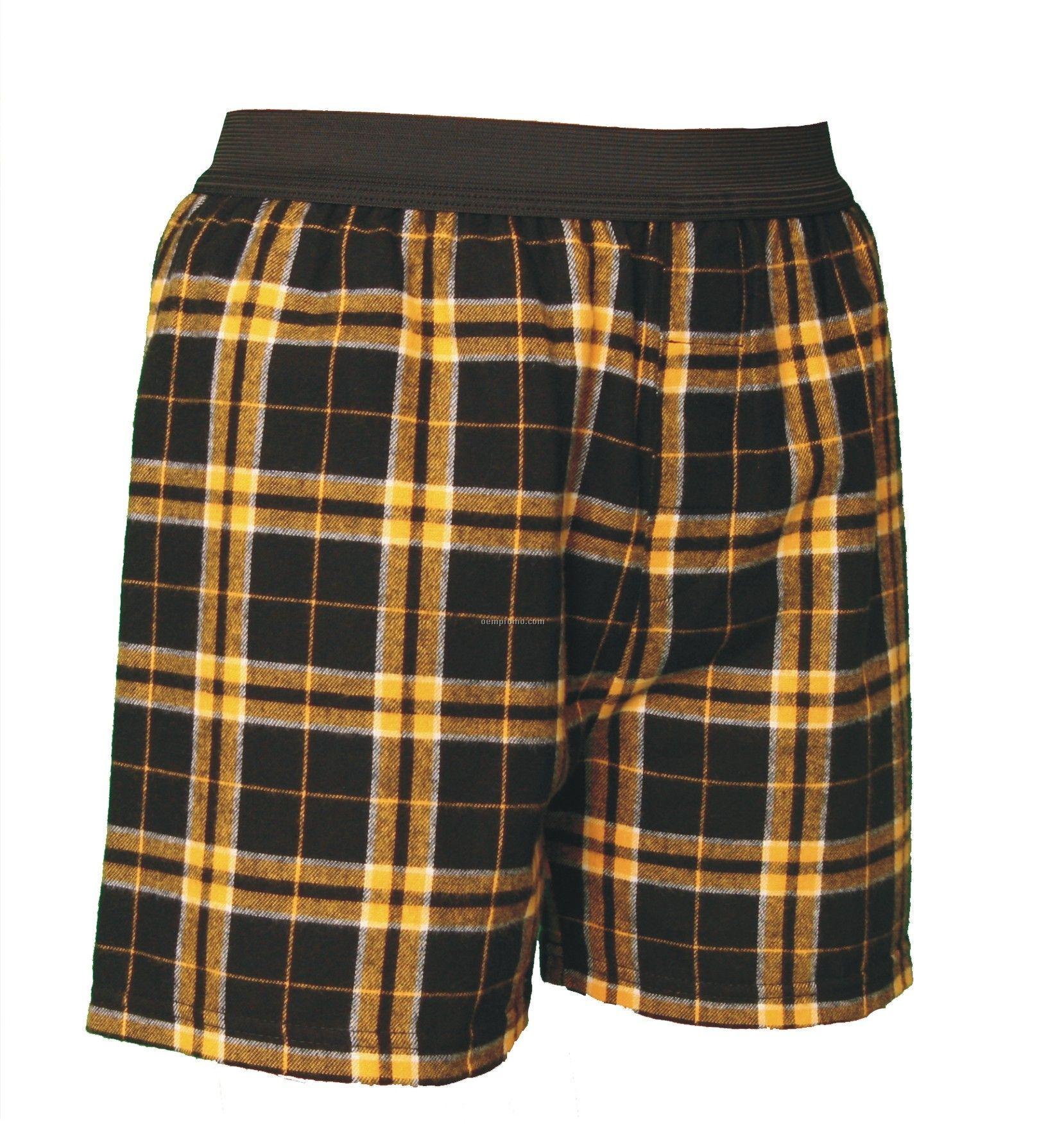 Adult Black/Gold Plaid Classic Boxer Short