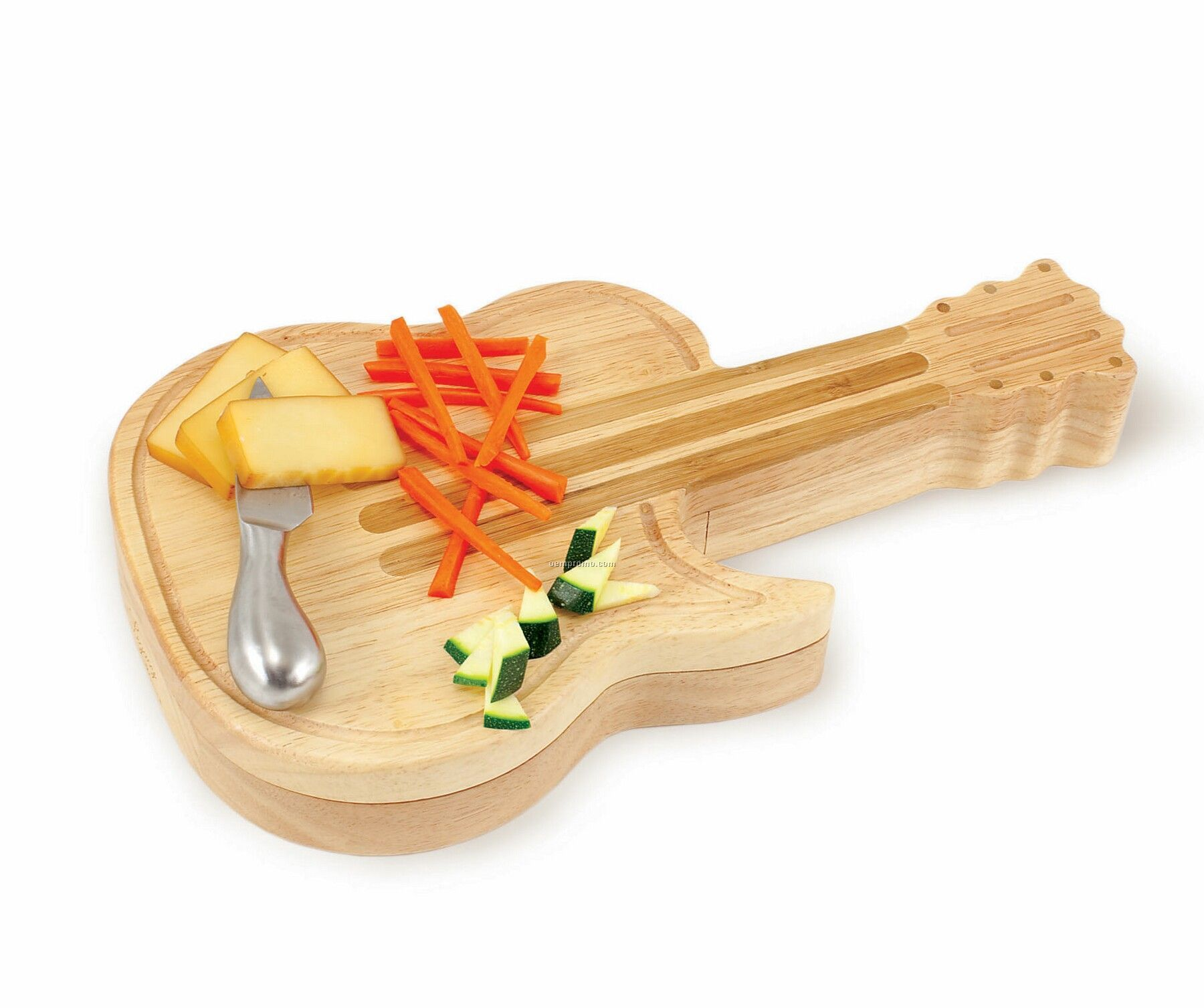 Guitar Shaped Rubber Wood Cutting Board W/ 3 Wine & Cheese Tools