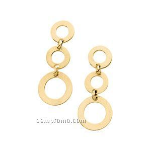 14ky 26-1/4x10 Ladies' Circle Dangle Earring 2 Small/1 Large Rings Each