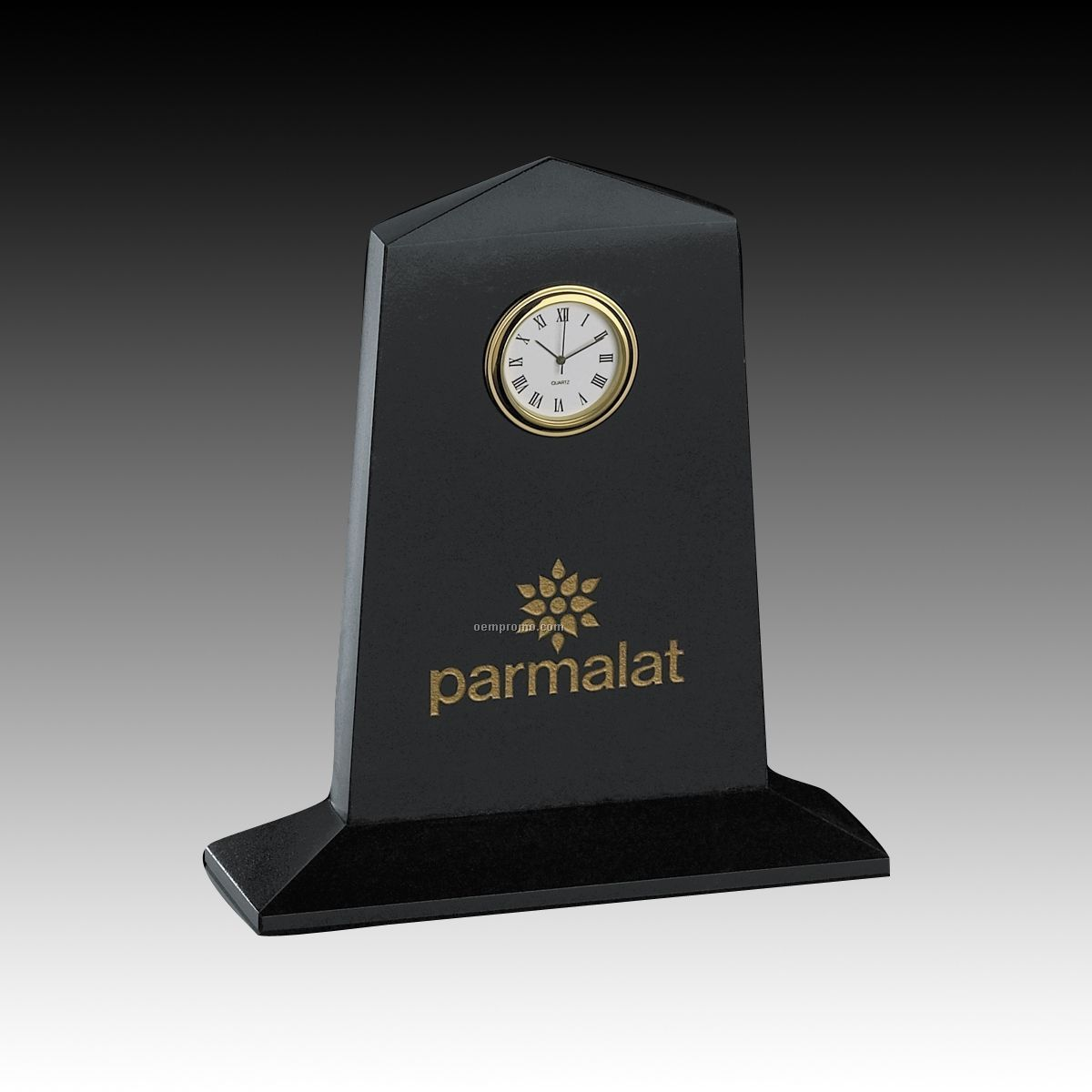 Genuine Black Marble Pentagon Clock