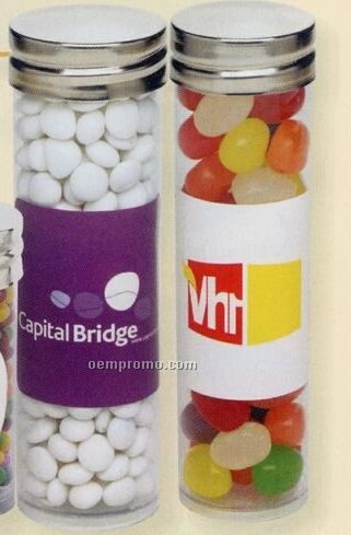 Jelly Belly Beans In Large Clear Silver Top Tubes