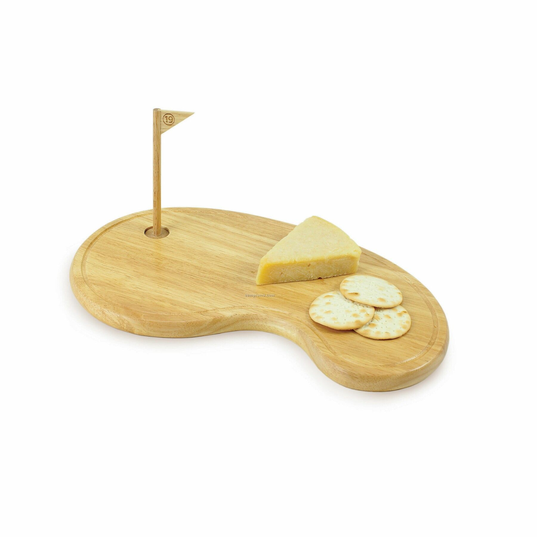 19th Hole Wood Cutting Board / Serving Tray (Putting Green Shaped)