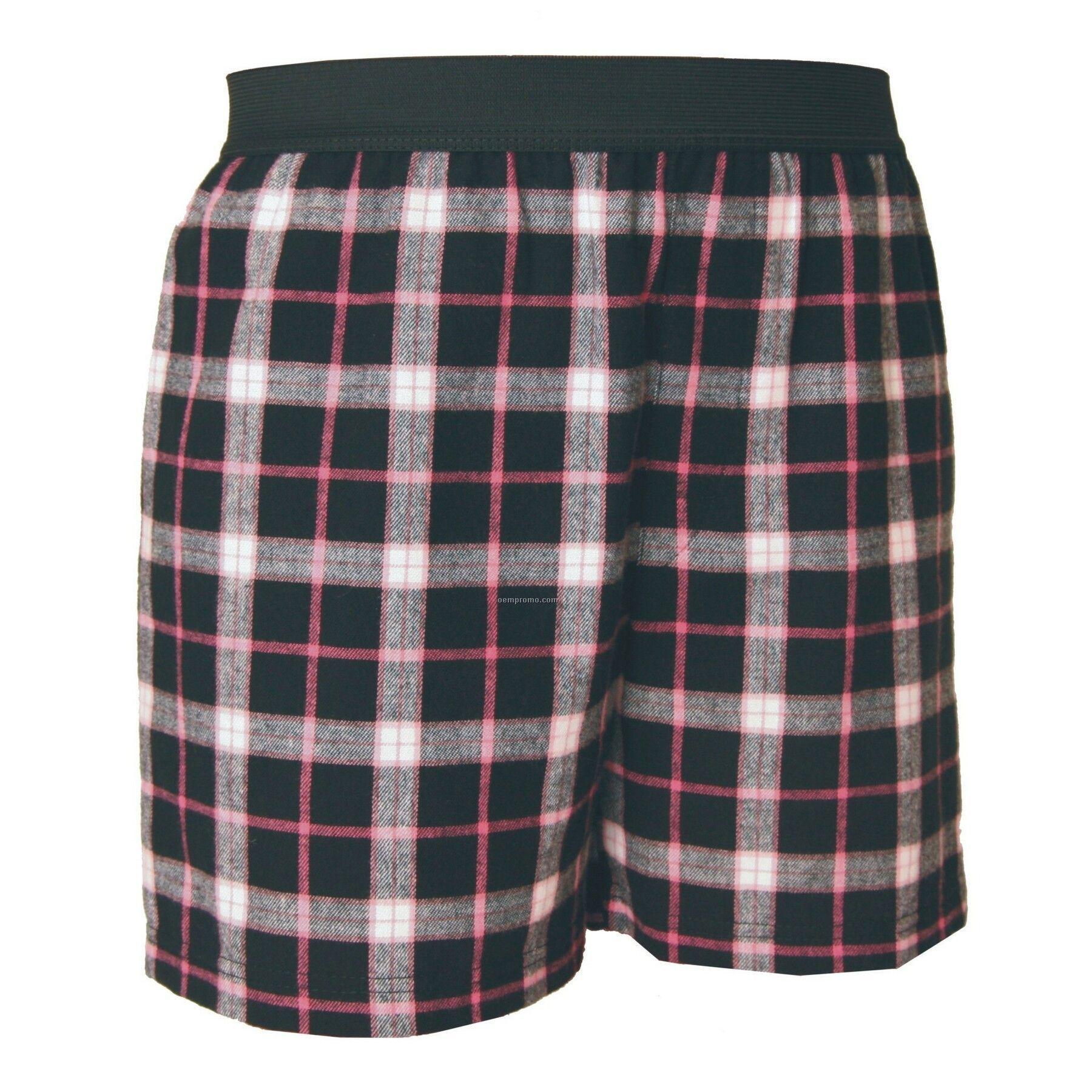 Adult Black/Pink Plaid Classic Boxer Shorts