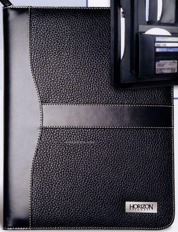 Leatherette Zipper Portfolio With Calculator & Pockets