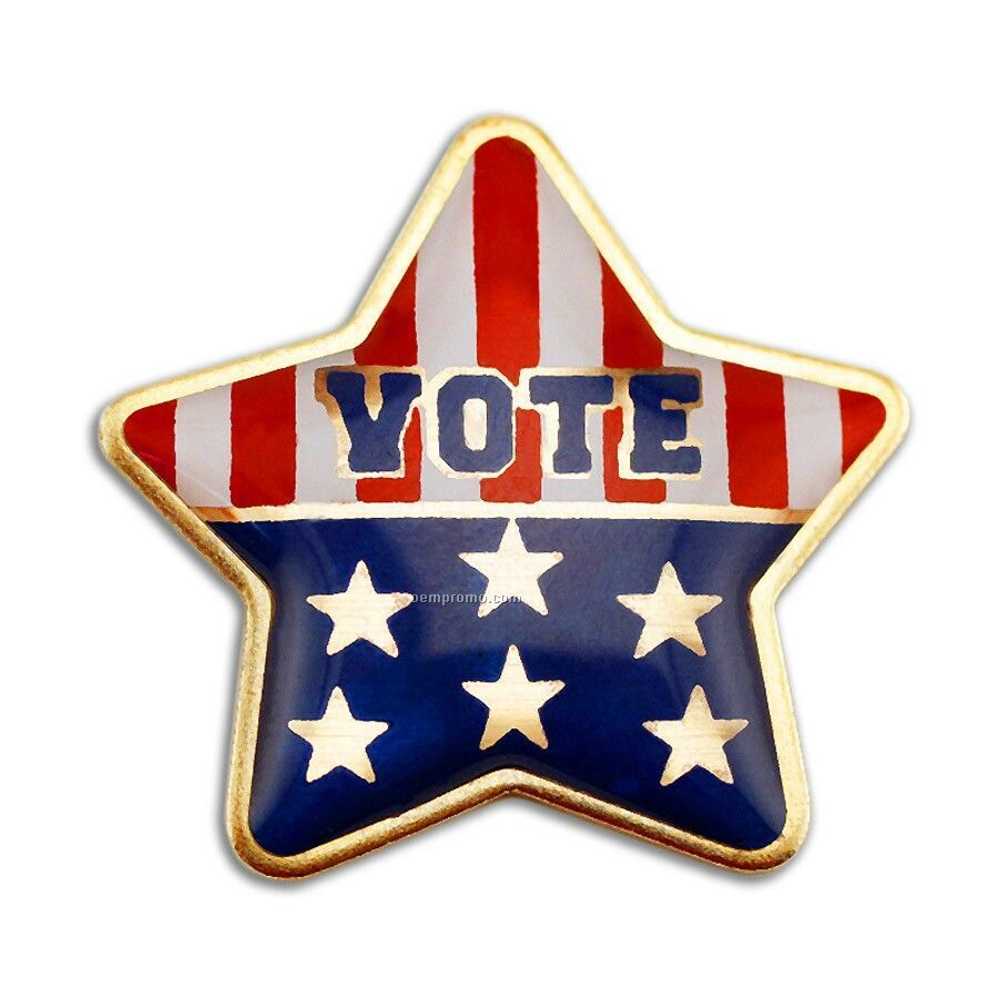 Stock Lapel Pin / Hot Stamped On Mylar - Vote (Made In Usa)