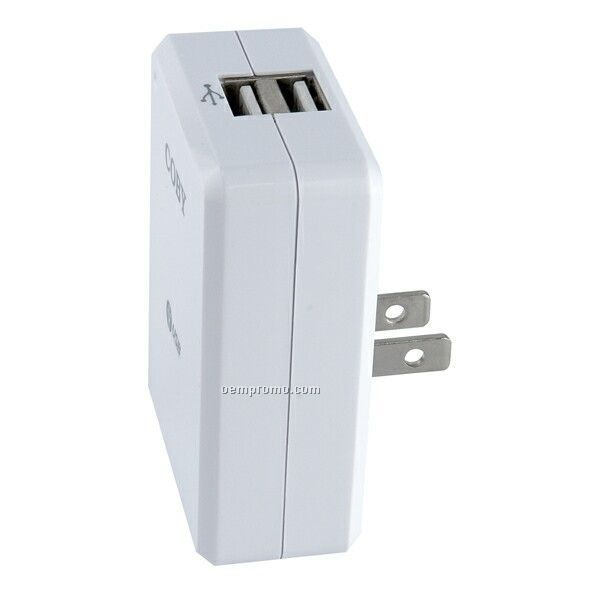 Coby Dual USB Ac Car Adapter/Charger For Mp3 Players