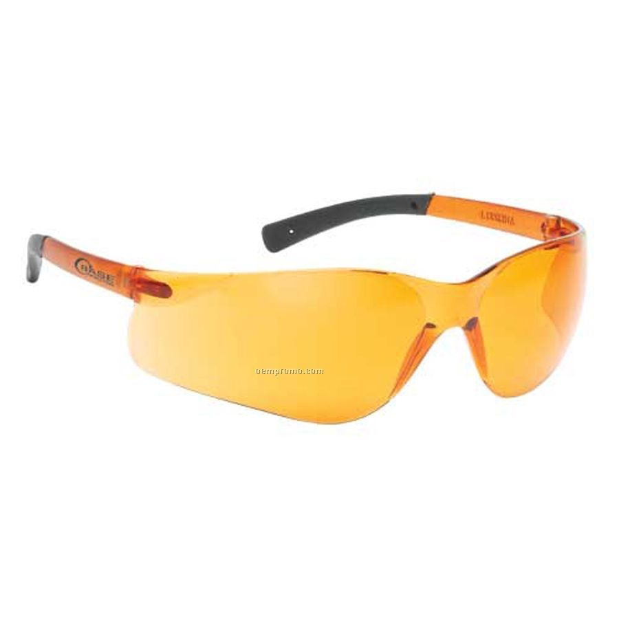 Lightweight Wrap-around Safety Eyeglasses (Orange Lens/Self Frame)