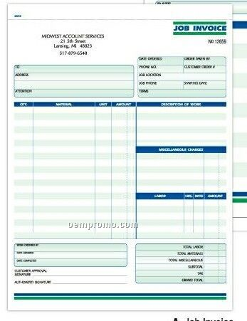 3 Part Job Invoices Formatted Snap Sets