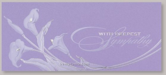 Lilac Lilies Sympathy Card W/ Unlined Envelope