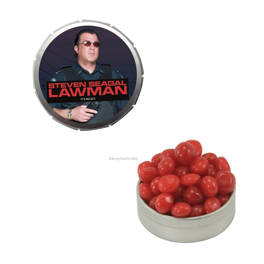 Small Silver Snap-top Mint Tin Filled With Cinnamon Red Hots