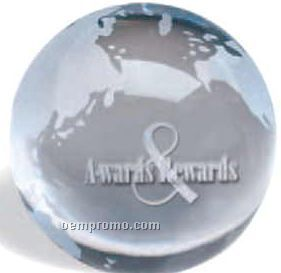 """3"""" Glass Etched Globe Paperweight"""