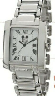 Admas Ladies Square Dial Silver Watch With Metal Band