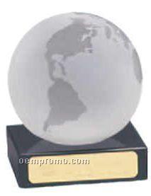 """Black Marble Base W/ 3"""" Glass Globe"""
