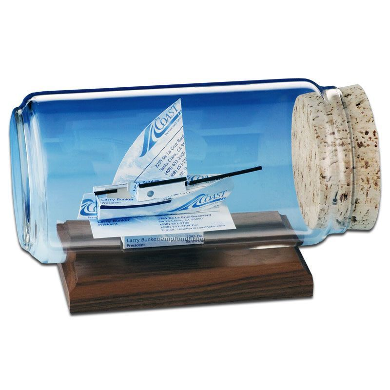 Business Card In A Bottle Sculpture - Sloop Sail Boat
