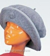 Double Wool Beret Hat W/ Matching Grosgrain Trim