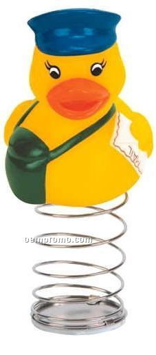 Rubber Mailman Duck Bobble