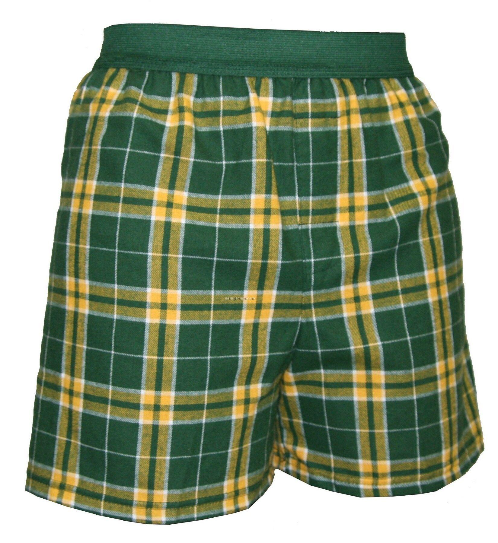 Adult Green/Gold Plaid Classic Boxer Short