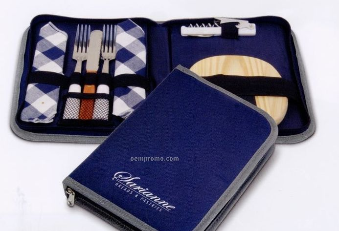 Blue Wine & Cheese Travel Set