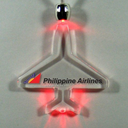 Plane Light Up Pendant Necklace W/ Red LED