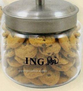 Small Glass Cookie Jar W/ Chocolate Chip Mini Cookies