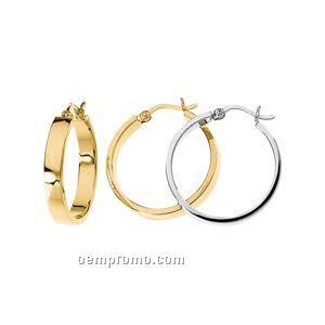 14ky 35mm Ladies' Flat Tube Hoop Earring