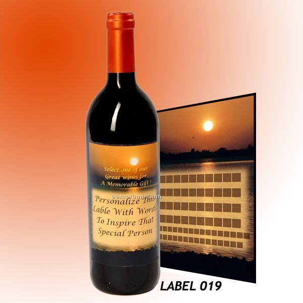 Custom Wine Gift With Personalized Stock Label - Sunset / Fisherman Caddy