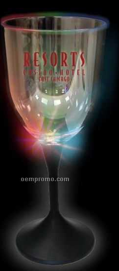 10 Oz. Lighted Wine Glass With Black Base