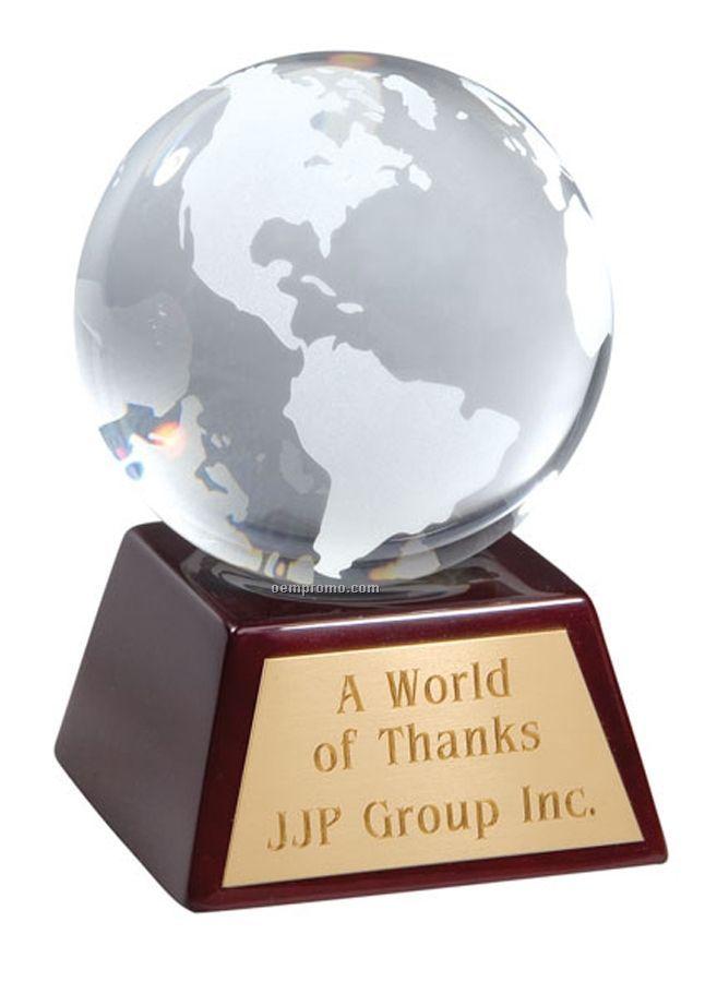Optical Globe Award On Piano Finish Wood Base