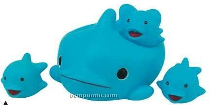 Rubber Dolphin 4 Piece Big Family