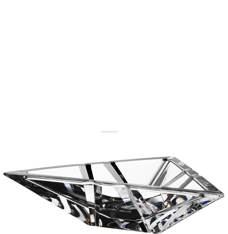 Summit Crystal Low Triangular Bowl W/ Asymmetrical Cuts