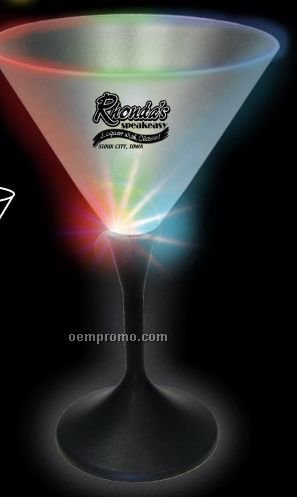 7 Oz. Lighted Frosted Martini Glass With Black Base