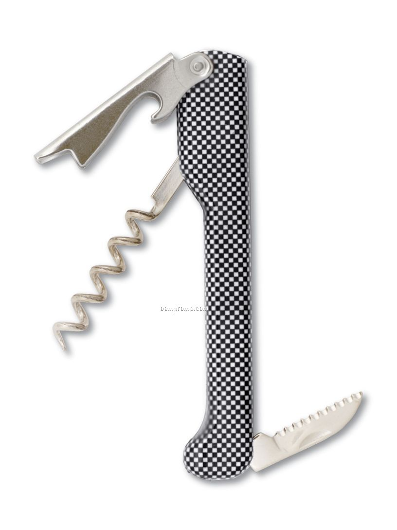 Capitano Designer Waiter's Corkscrew With Checker Pattern Handle