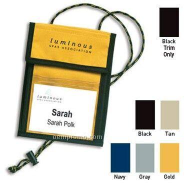 Large Trade Show Badge Holder Neck Wallets W/ Adjustable Cord - 1 Color