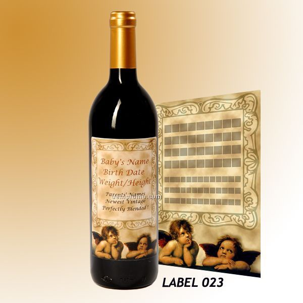 Custom Wine Gift With Personalized Stock Label - Cherubs Or Business Man