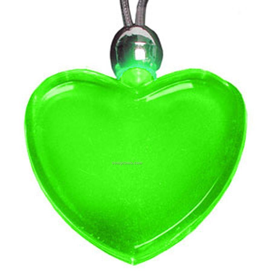 Green Heart Light Up Pendant Necklace