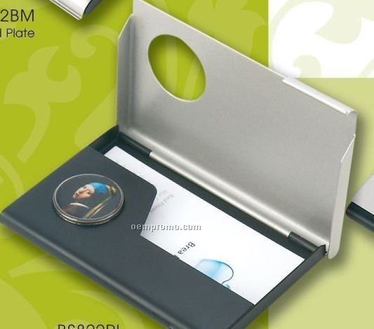 Matte Nickel Business Card Case W/ Black Matte Accent (Photo Imaging)