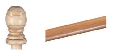 Single Wooden Flag Pole W/ Ball Top - Case Of 6 (Style B-5) 5'