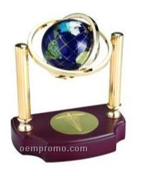 Spinning Gemstone Globe Award On Wood Base
