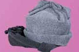 Wool Hat W/Cuff & Tie Top