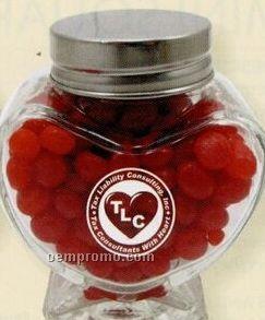 Mini Glass Heart Jar W/ Red Hots