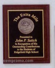 Elegant Cherry Finish Plaque W/ Black Plate & Round Medal