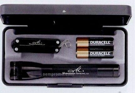 AA Mini Mag-lite With Multi Function Mini Tool (Black)