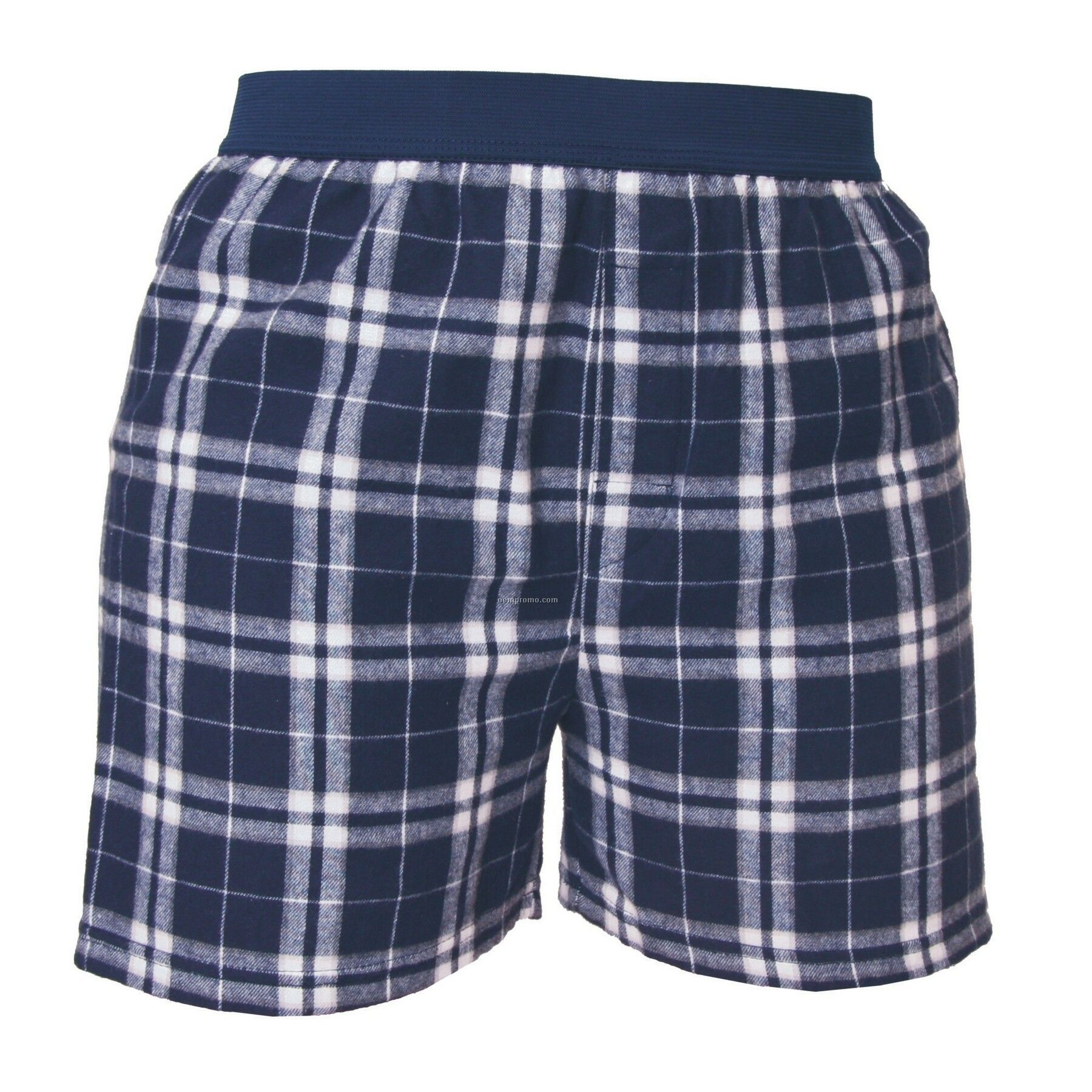 Adult Navy Blue/Silver Plaid Classic Boxer Short