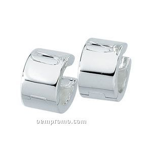 13-1/2mm Ladies' Sterling Silver Hinged Earring