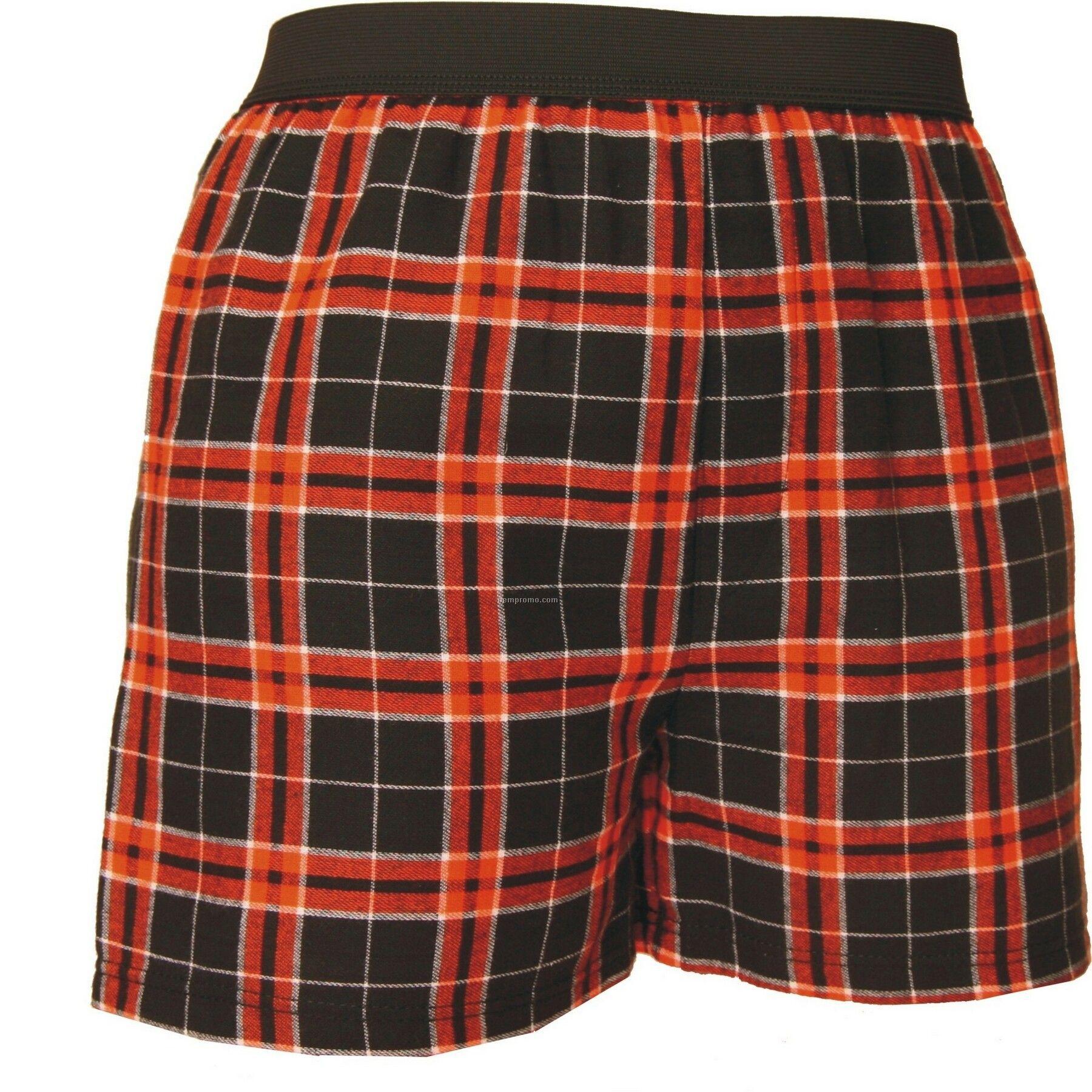 Adult Orange/Black Plaid Classic Boxer Short