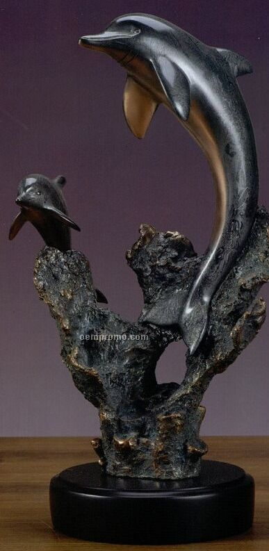 Two Gray Dolphins Trophy W/ Rock Formation - Round Base (10.5
