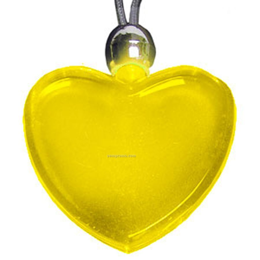 Yellow Heart Light Up Pendant Necklace