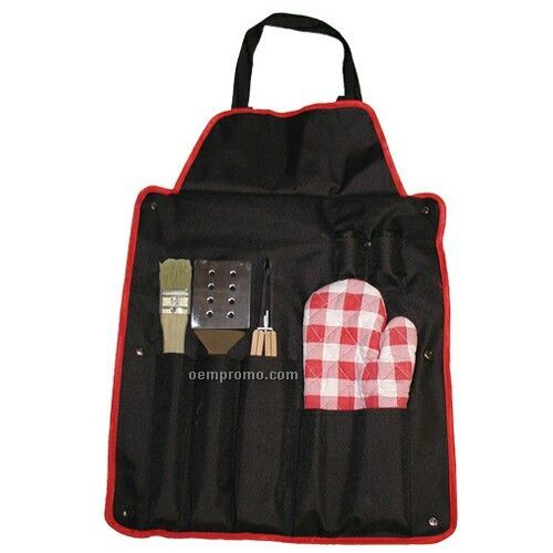 Bbq Utensil Set With Brush & Apron